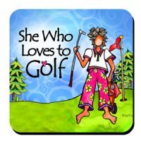 She Who Loves to Golf – Coaster