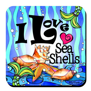 Divas of the Deep I Love Sea Shells coaster