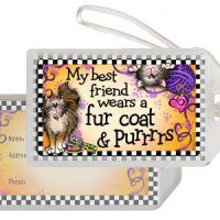 My best friend wears a fur coat & Purrrrs! (BF Cat) – Bag Tag