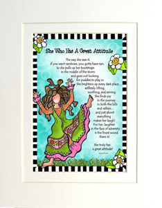 Great attitude art print matted
