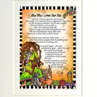 "She Who Loves Her Cat – 8 x 10 Matted ""Gifty"" Art Print"