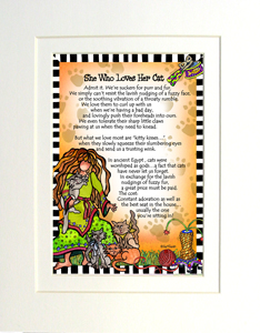 Loves her cat art print matted