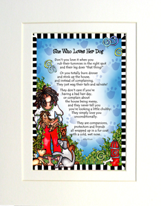 Loves her Dog Art print matted