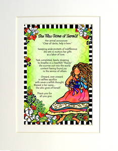 Gives of Herself art print matted
