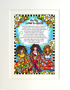 Loves to Quilt art print matted