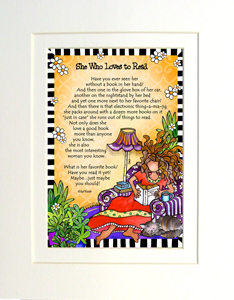 Loves to Read art print matted
