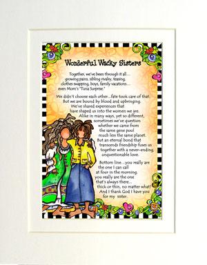 Wacky Sisters art print matted