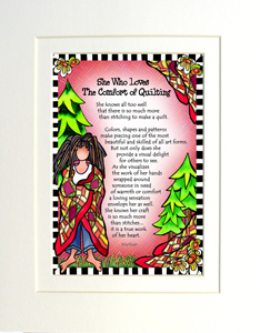 Comfort in Quilting art print matted
