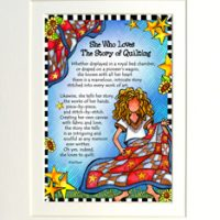 "She Who Loves the Story of Quilting – 8 x 10 Matted ""Gifty"" Art Print"
