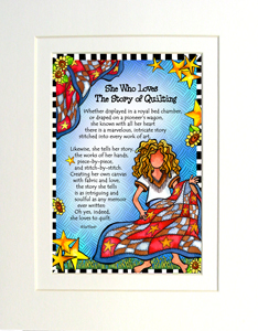 Story of Quilting art print matted