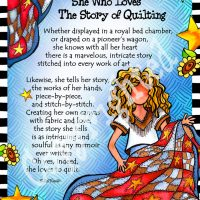 """She Who Loves the Story of Quilting – 8 x 10 Matted """"Gifty"""" Art Print"""