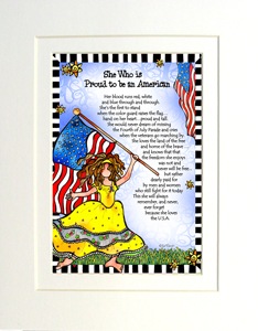 Loves America art print matted