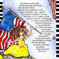 """She Who is Proud to be an American – 8 x 10 Matted  """"Gifty"""" Art Print"""