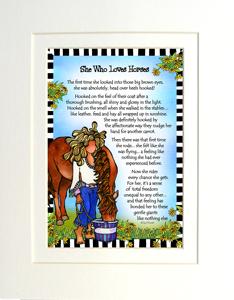 Loves Horses art print matted