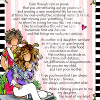 """My Daughter – Forever Connected Heart to Heart – 8 x 10 Matted """"Gifty"""" Art Print"""