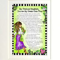 "My Precious Daughter, You are My Dream Come True – 8 x 10 Matted ""Gifty"" Art Print"