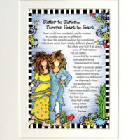 "Sister to Sister… Forever Heart to Heart – 8 x 10 Matted ""Gifty"" Art Print"
