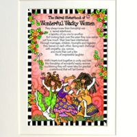 "Sacred Sisterhood of Wonderful Wacky Women (3 girls) – 8 x 10 Matted ""Gifty"" Art Print"