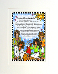 Golfing with Girls art print matted