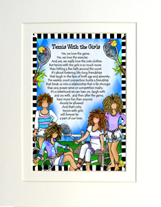 Tennis with Girls art print matted