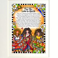 """The Quilted Sisterhood — they who love to quilt – 8 x 10 Matted """"Gifty"""" Art Print"""