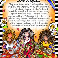 "The Quilted Sisterhood — they who love to quilt – 8 x 10 Matted ""Gifty"" Art Print"