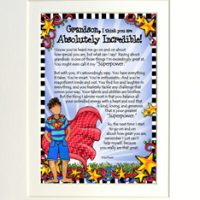 """My Grandson, I think you are Absolutely Incredible! (for younger child) – 8 x 10 Matted """"Gifty"""" Art Print"""