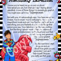 "My Grandson, I think you are Absolutely Incredible! (for younger child) – 8 x 10 Matted ""Gifty"" Art Print"