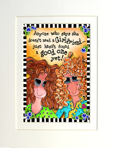 Girlfriends art print matted