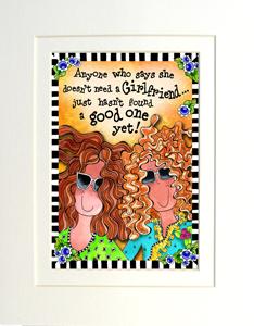Girlfriends art print matted