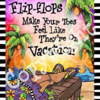 "Flip Flops make your toes feel like they're on Vacation – 8 x 10 Matted ""Gifty"" Art Print with story on the back (16×20 also available)"
