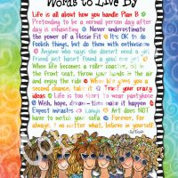 "Wonderful Wacky Words to Live By – 8 x 10 Matted ""Gifty"" Art Print"