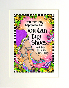 Happiness shoes print matted