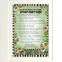 "The Top Ten Secrets For a Really Great Marriage – 8 x 10 Matted ""Gifty"" Art Print"