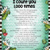 """When I Count My Blessings I Count You 1,000 Times – 8 x 10 Matted """"Gifty"""" Art Print"""