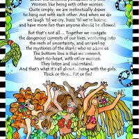 "Being with My Girl 'Fins …and avoiding the sharks who so adore us (Divas of the Deep) – 8 x 10 Matted ""Gifty"" Art Print"