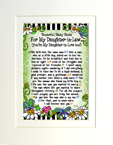 Wisdom for my daughter in law art print matted