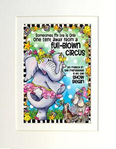 Circus art print matted