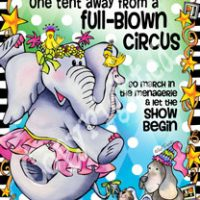 "Sometimes my life is only one tent away from a Full Blown Circus …so march in the menagerie and let the show begin – 8 x 10 Matted ""Gifty"" Art Print with a story on the back(16″x20″ also available)"