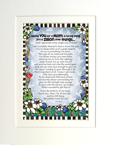 Zillion things Mom art print matted