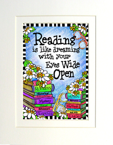 Reading with eyes wide open print matted