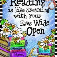 "Reading is like dreaming with you Eyes Wide Open – 8 x 10 Matted ""Gifty"" Art Print with story on the back (16×20 also available)"