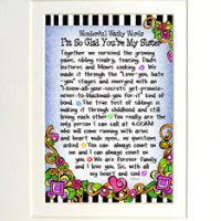 "Wonderful Wacky Words I'm So Glad You're My Sister – 8 x 10 Matted ""Gifty"" Art Print"
