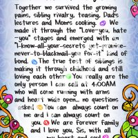 """Wonderful Wacky Words I'm So Glad You're My Sister – 8 x 10 Matted """"Gifty"""" Art Print"""