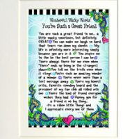 "Wonderful Wacky Words You're Such a Great Friend – 8 x 10 Matted ""Gifty"" Art Print"