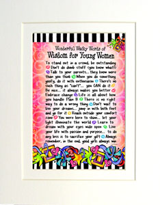 Wisdom for young women art print matted