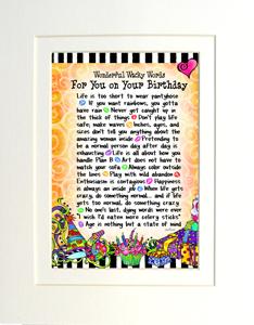 Birthday art print matted