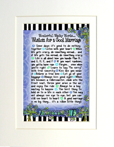 Wisdom for a good marriage art print matted