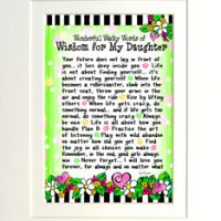 """Wonderful Wacky Words of Wisdom for My Daughter – 8 x 10 Matted """"Gifty"""" Art Print"""