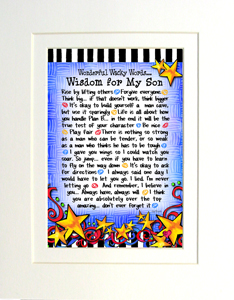 Wisdom for my son art print matted